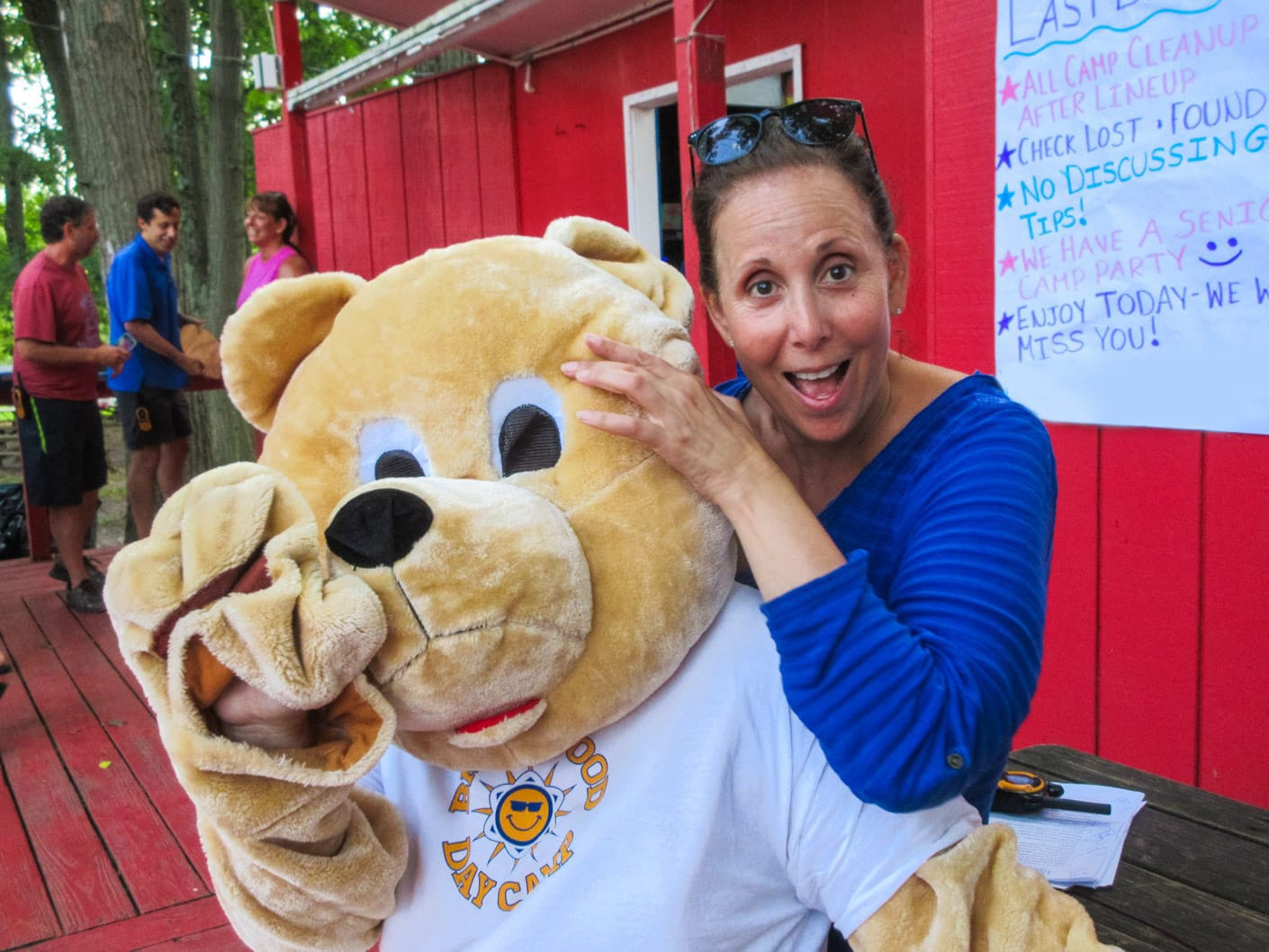 Anne with the camp mascot